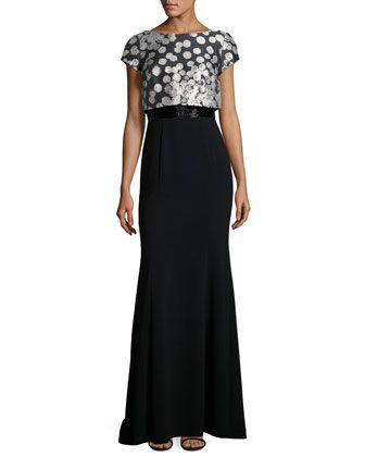 Short-Sleeve Dot-Print Mermaid Gown, Black/Taupe by Theia at Neiman Marcus Last Call.