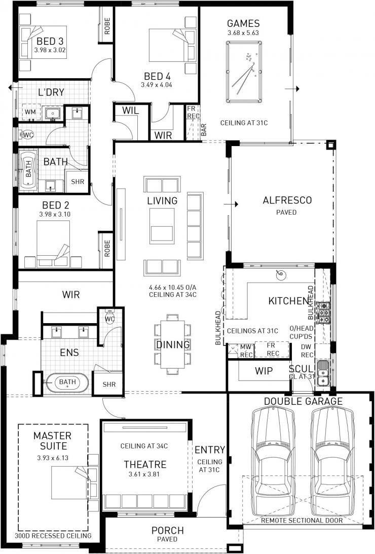 Modena Single Storey Display Floor Plan Wa Home Design Floor Plans Dream House Plans 4 Bedroom House Plans