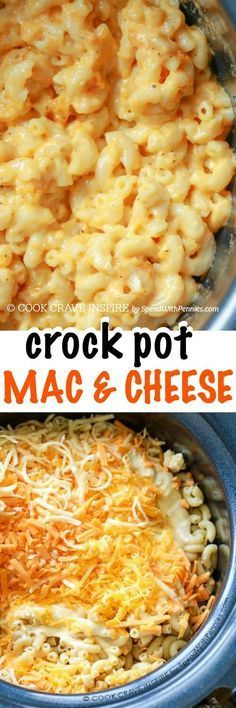 Crock Pot Mac 'n Cheese.. this is one of my favorite recipes of all time. Rich and creamy and easy to make (don't let the unusual ingredients scare you away)! Perfect for potlucks and you're going to want to add it to your camping recipes too!