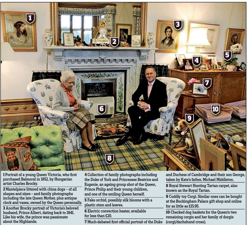 Pictured  The Queen s sitting room at Balmoral    and a photo of great. Pictured  The Queen s sitting room at Balmoral    and a photo of