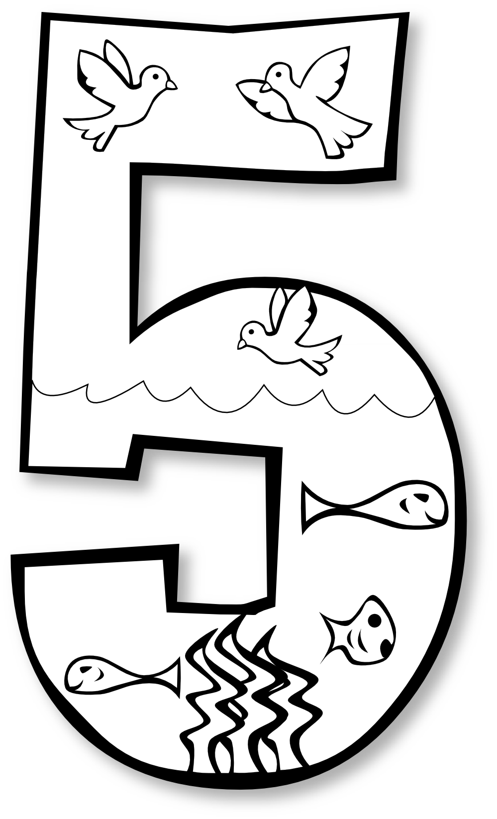 Cool Creation Day 5 Number Ge 2 Black White Line Art