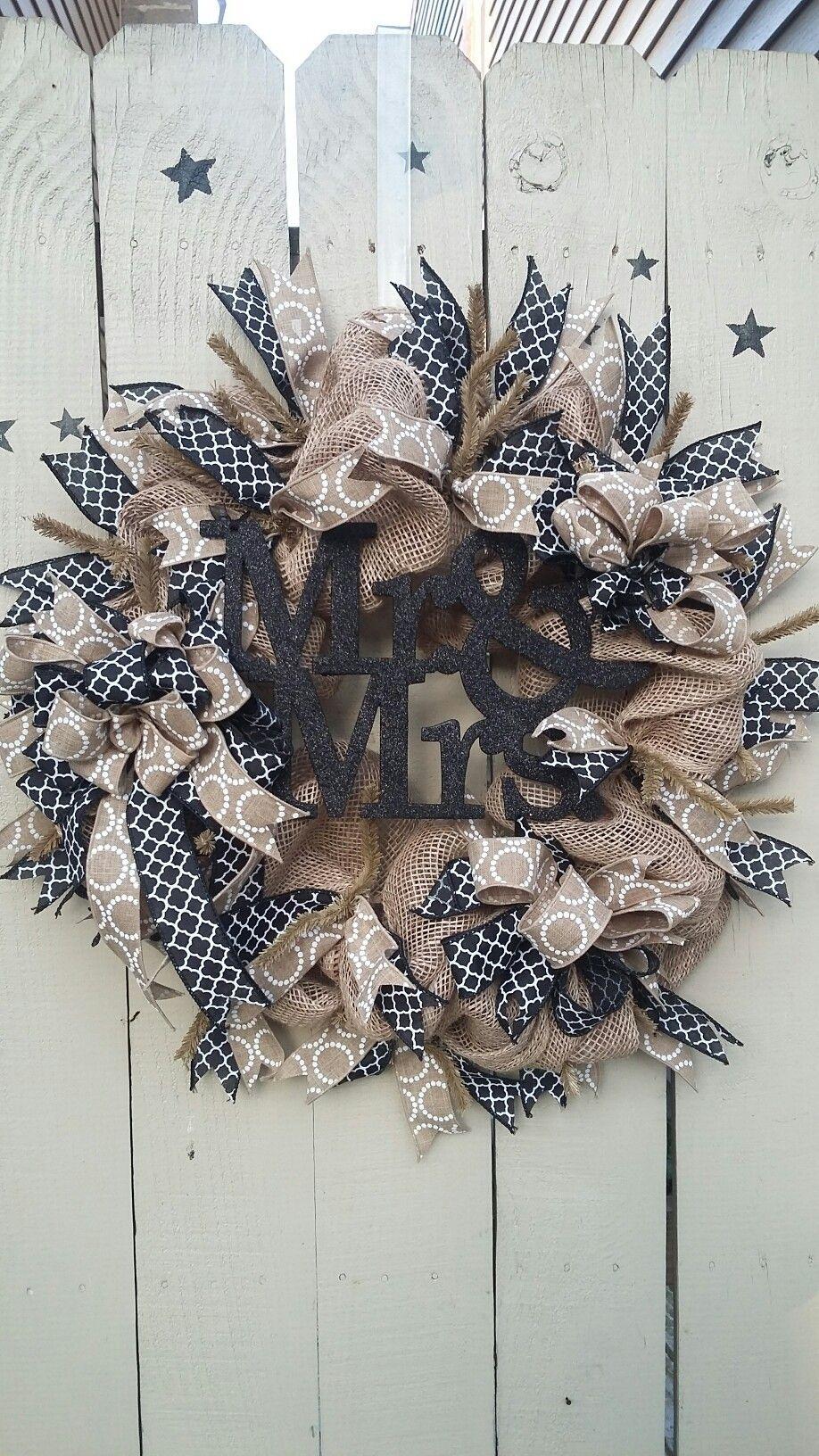 Wedding wreath mesh. Mr & mrs tan and black  www.facebook.com/cumberlandwreaths