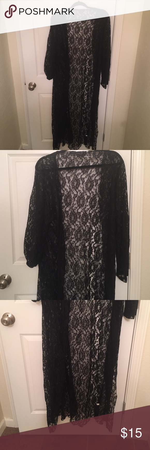 Floor length black lace cardigan | Tops, Sweater cardigan and Nice