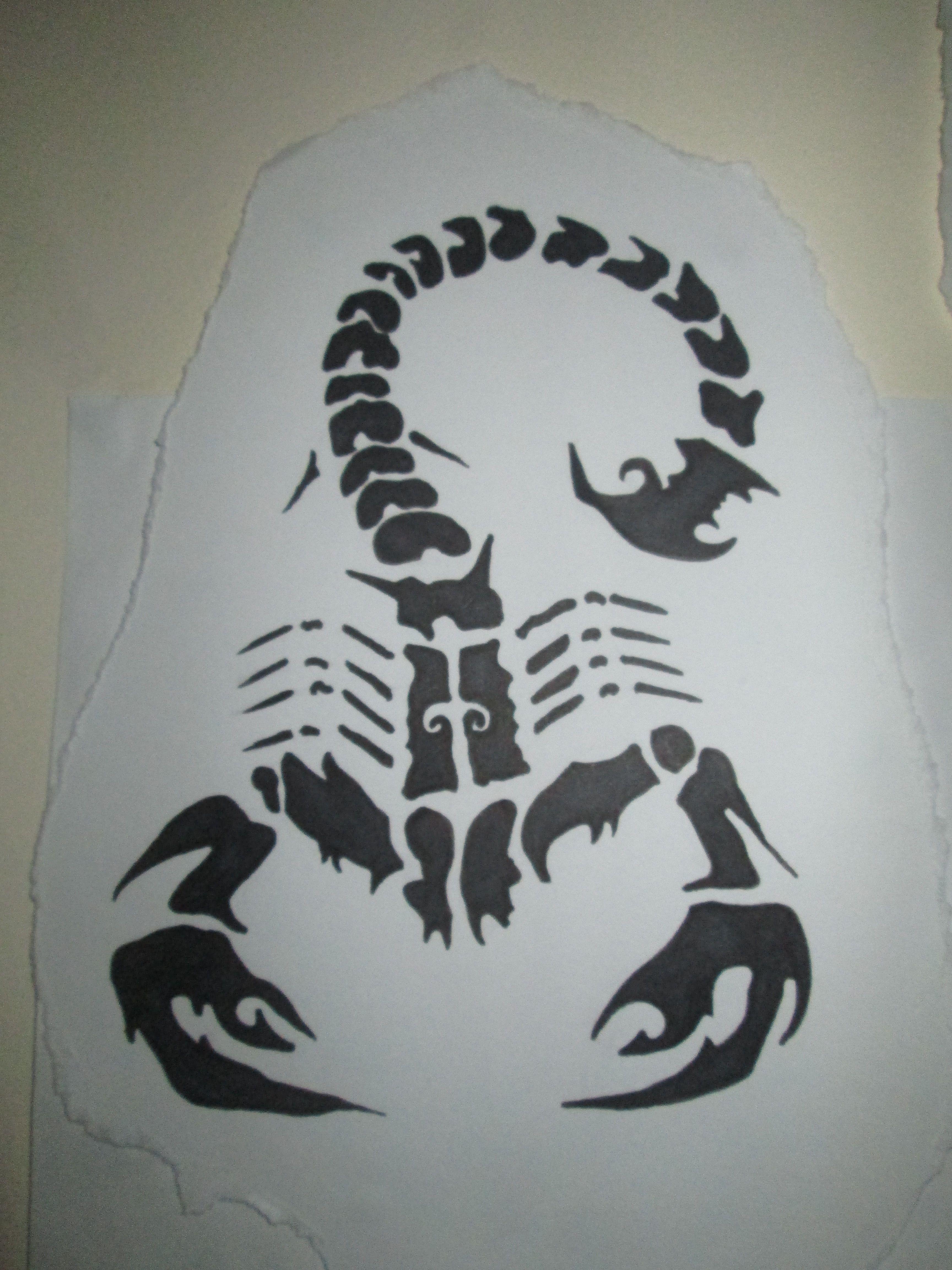 scorpion tattoo paper stencil