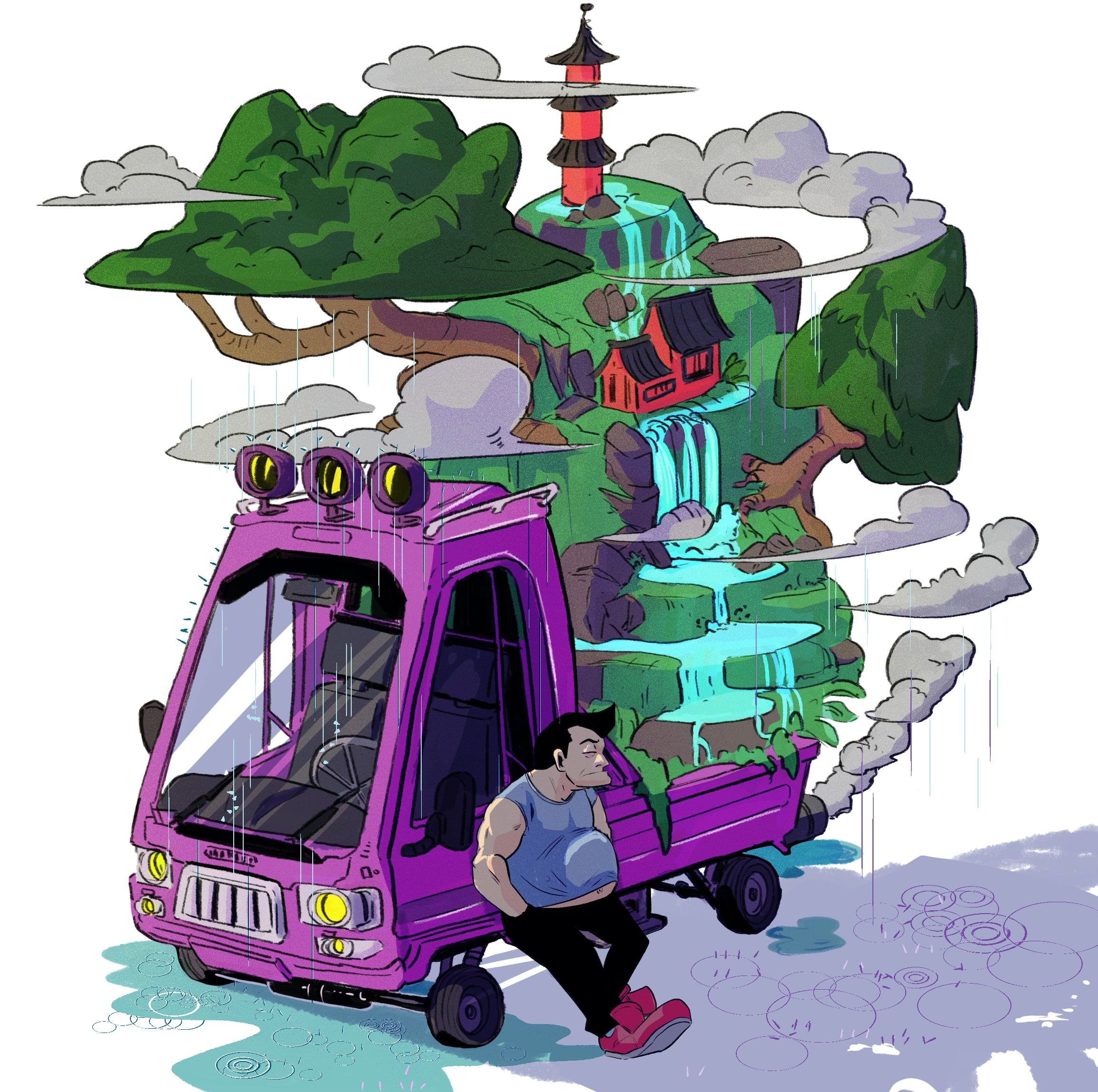 bonsai car with a little world in it. I think drawing cars and vehicles is really fun, even if I don't do it a lot. #cardrawing #vehicledesign #cartoon