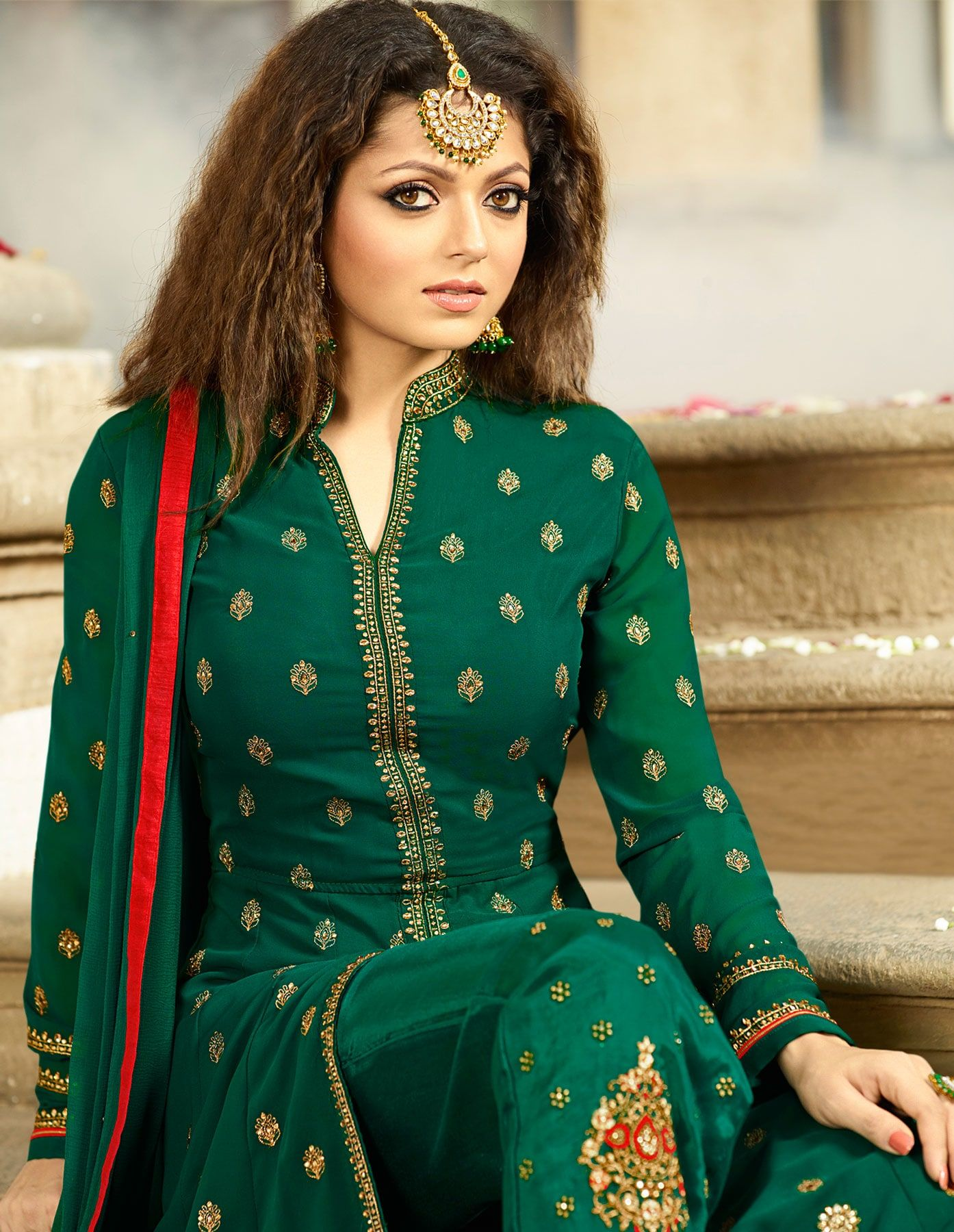 4ebba5243b Buy Attractive Green Colored Designer Embroidered Partywear Georgette Abaya  Style Anarkali Suit Online India, Best