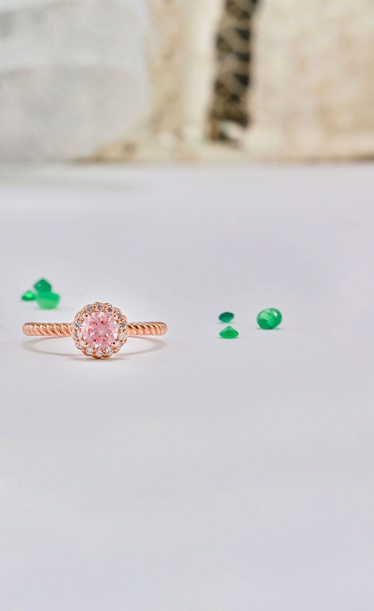 Pink diamond halo ecksand engagement rings pinterest halo