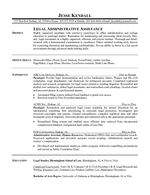 Assistant Paralegal Resume Sample