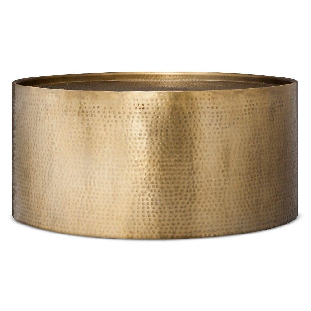 Manila Round Hammered Drum Coffee Table Brass Project 62 In 2020 Barrel Coffee Table Gold Coffee Table Barrel Coffee