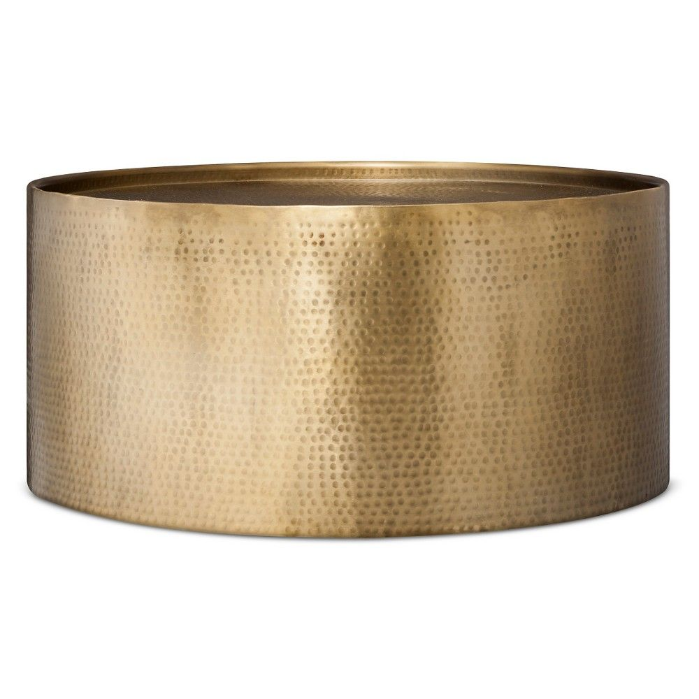 Manila Hammered Barrel Coffee Table Brass Project 62 Adult