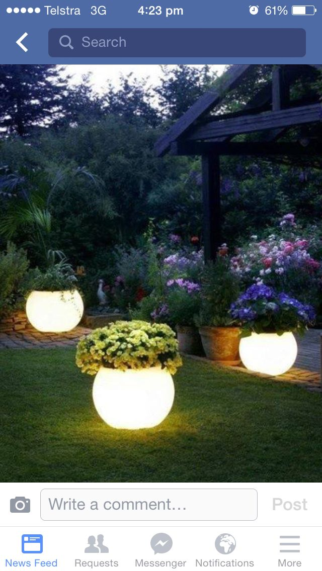 Normal flower pots painted with glow in the dark paint!