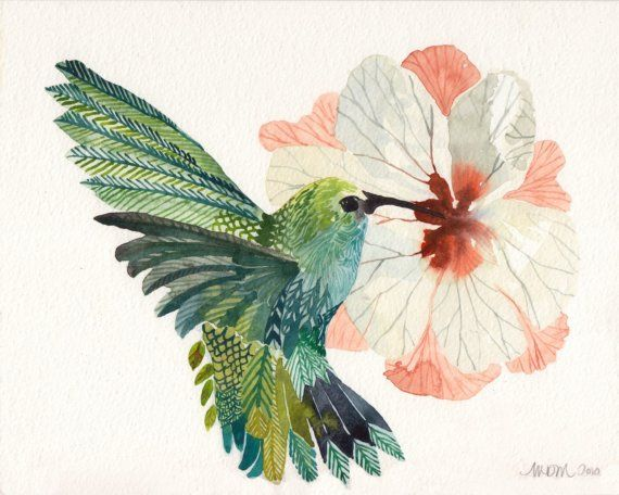 hibiscus+watercolor+paintings | Hummingbird and Hibiscus Flower - Original watercolor painting