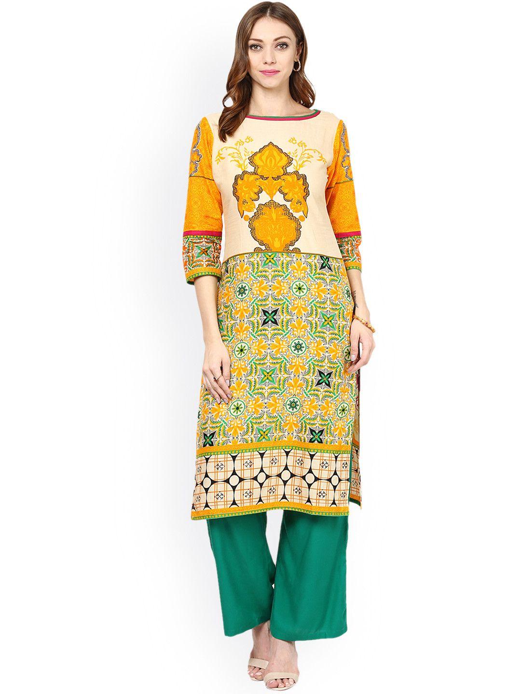 2a2bb5cc2f Buy Jaipur Kurti Multicoloured & Green Printed Kurta With Palazzo Trousers  - Kurta Sets for Women   Myntra