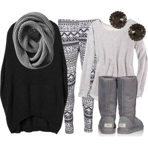 Oversized sweater with patterned leggings and infinity scarf ...