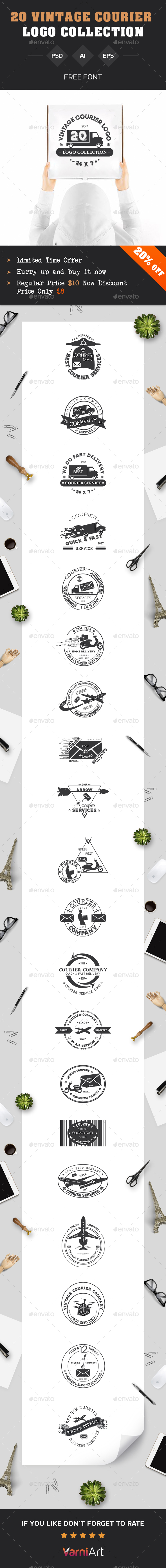20 Courier Vintage Labels Templates PSD, Vector EPS, AI Illustrator ...