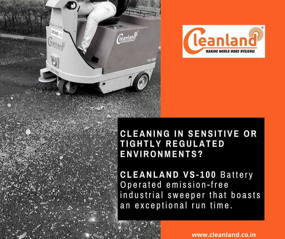 Cleanland Vs 100 Battery Operated Emission Free Industrial Sweeper Battery Operated Emissions Battery