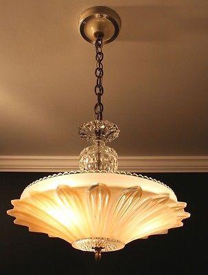 Remarkable Antique Beige Tan Glass Art Deco Sunflower Light Fixture Interior Design Ideas Gentotryabchikinfo