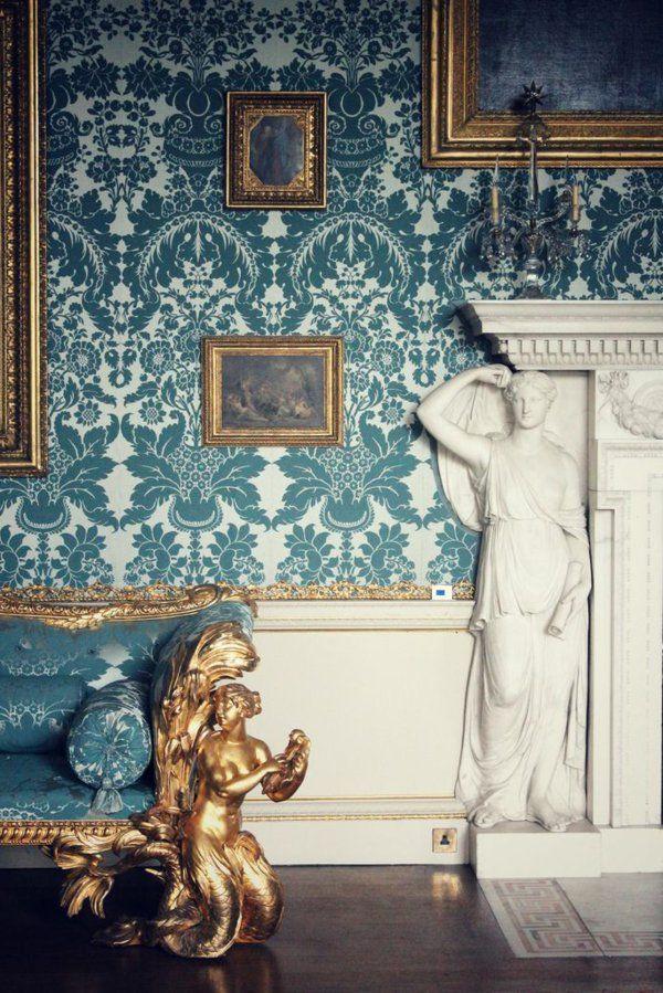 Wohnzimmer Interieur Barock Tapeten Goldene Elemente