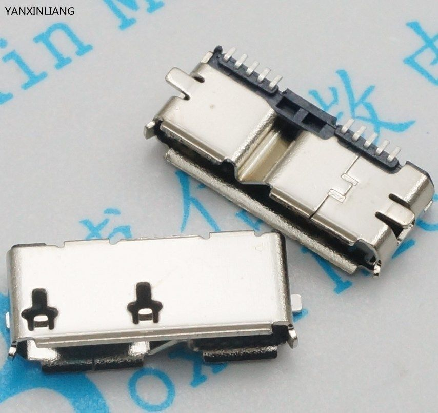 10pcs/lot Micro USB 3.0 B Type SMT Female Socket Connector for Hard Disk Drives Data Interface