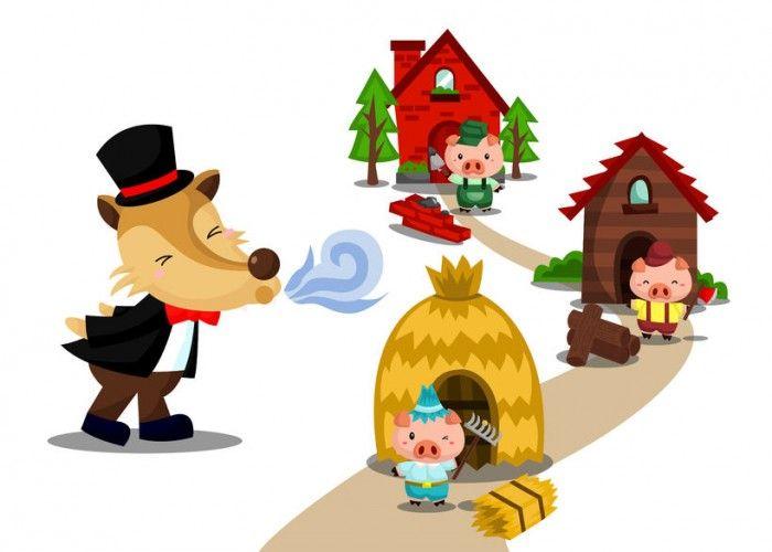 Los tres cerditos y el lobo feroz es un cuento infantil que no