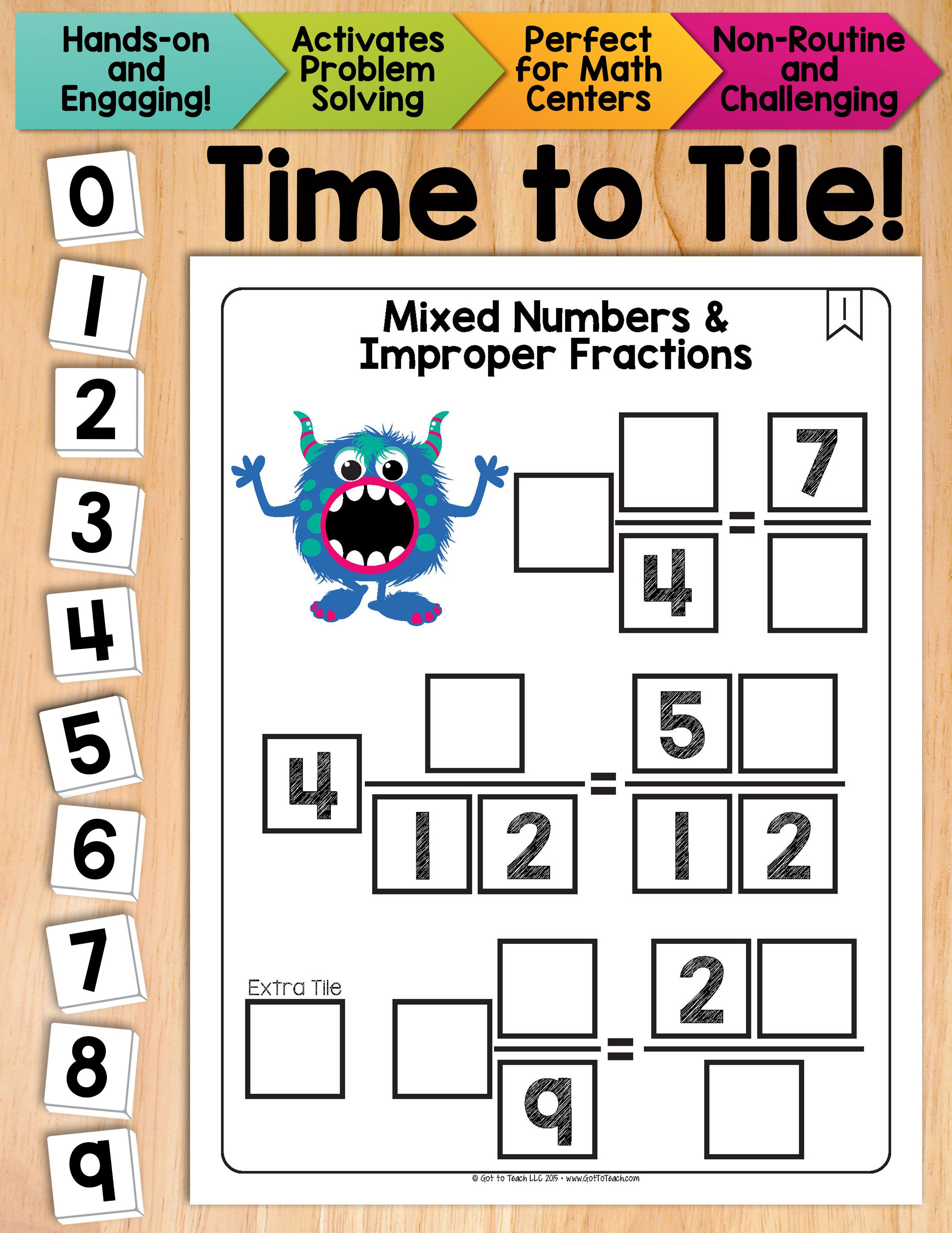 Math Tiles Mixed Numbers And Improper Fractions Math Centers