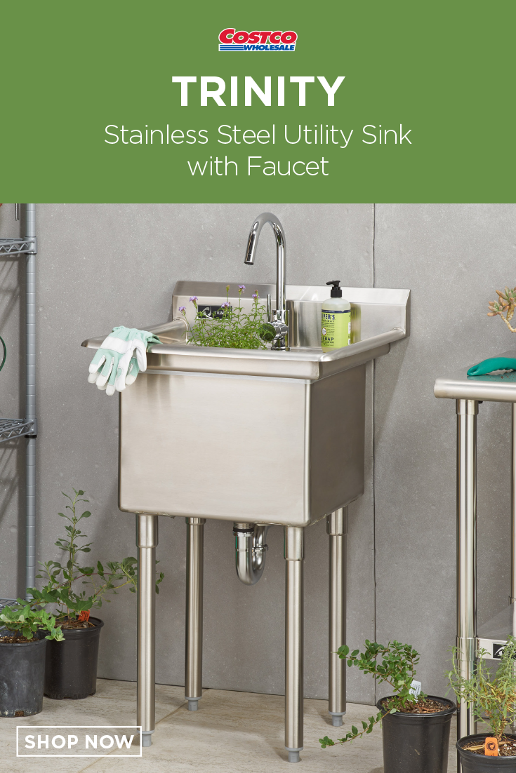 Trinity Stainless Steel Utility Sink With Faucet With Images