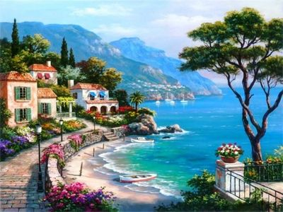 Great View Beauty Boats Coast Colors Flowers Houses Mediterranean Nature Painting  Relaxing Place Sea Stree HD Wallpaper