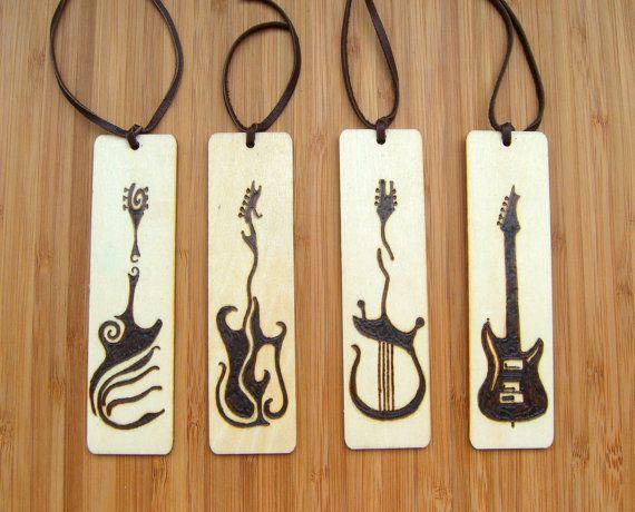 Wood Burned Bookmark Set Handmade Pyrography Guitar Art Musician Gift Christmas