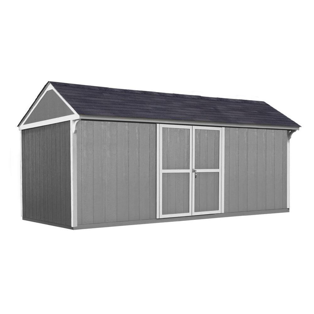 Handy Home Products Lexington 16 Ft X 10 Ft Wood Storage Shed With Floor 18327 0 The Home Depot Wood Storage Sheds Storage Shed Shed
