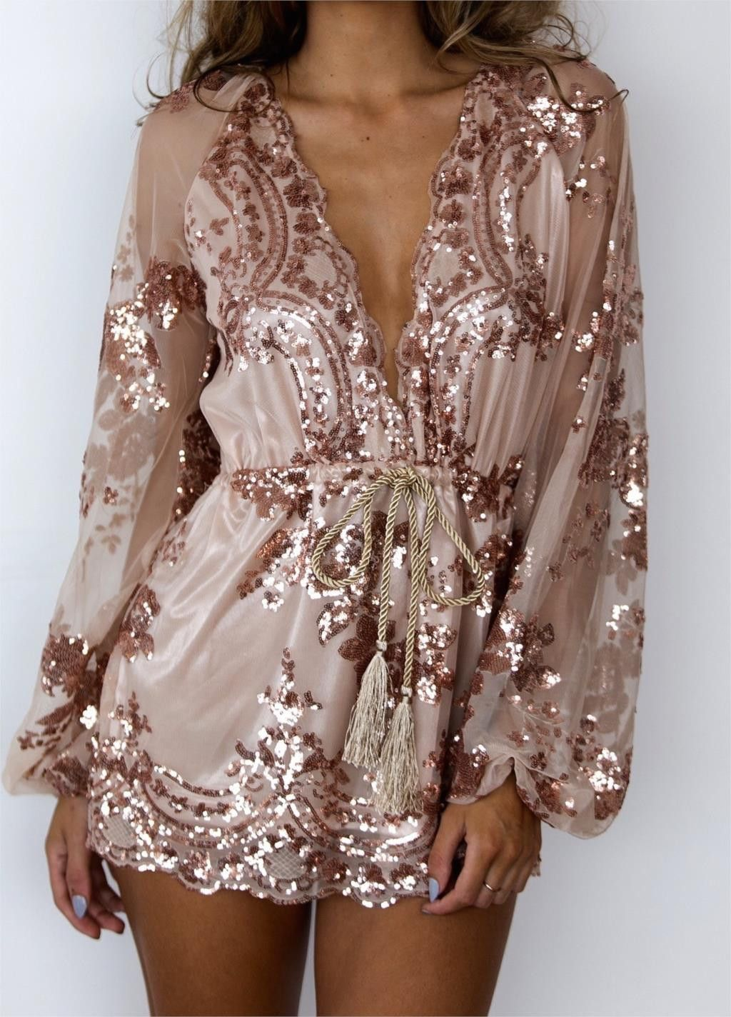 Tamaran Gold Sequined Romper New years eve outfits