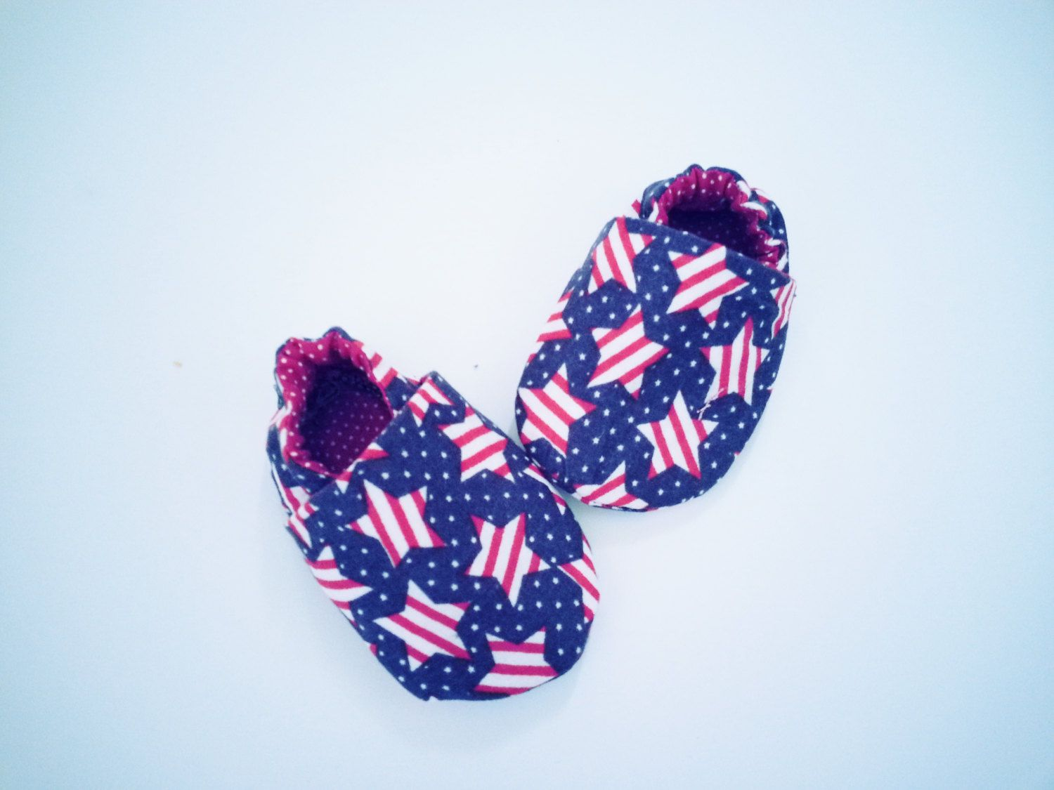 Fourth of July Baby Shoes Independence Day Booties Boys Girls Booties Red White and Blue Stars Booties Patriotic Cotton Baby Shoes by Cuddlythreads on Etsy
