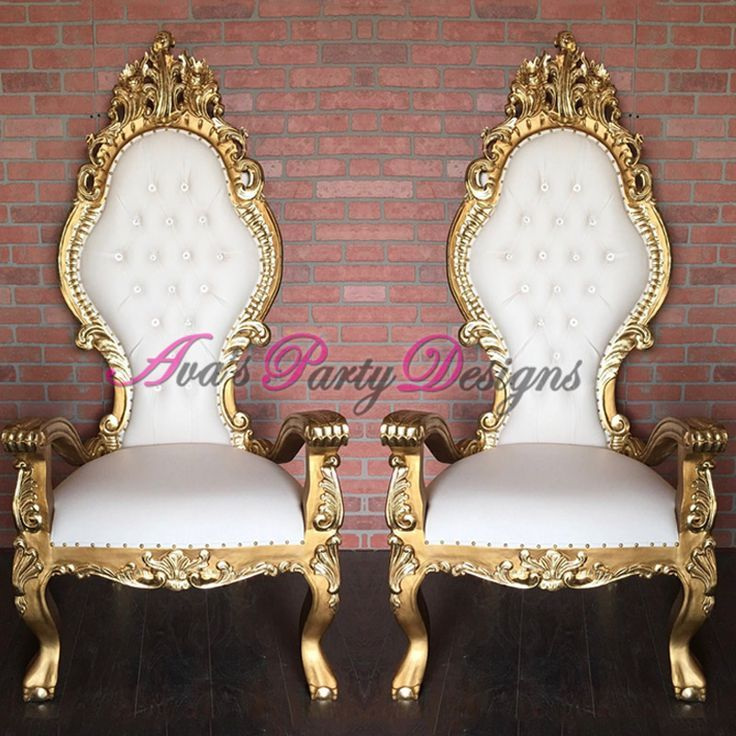 Gold And White Throne Chairs For Party Al Great As A Baby Shower Chair