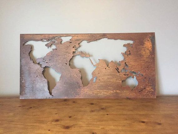large world map 24 x50 patina world map metal world map. Black Bedroom Furniture Sets. Home Design Ideas