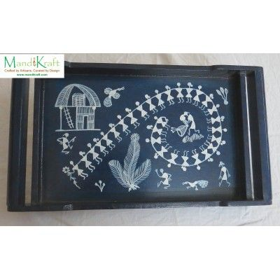 Handpainted Warli Tray with Handles - Blue