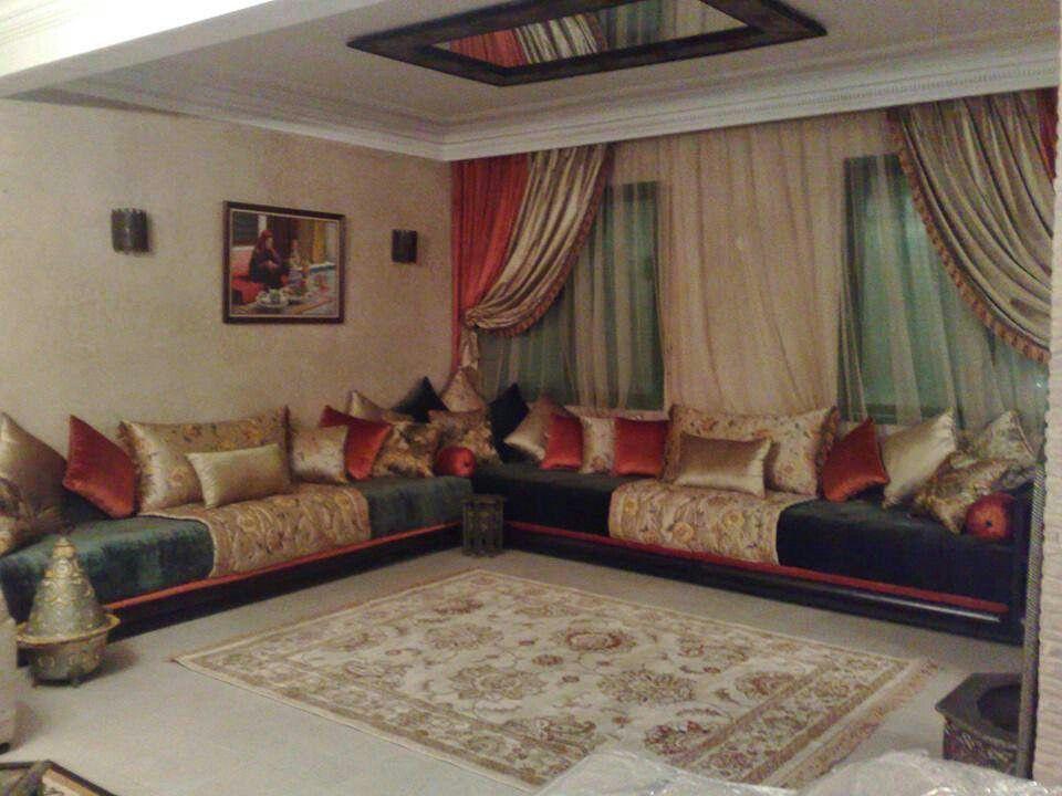Rouge brique et vert bouteille | salon marocain | Salon marocain ...