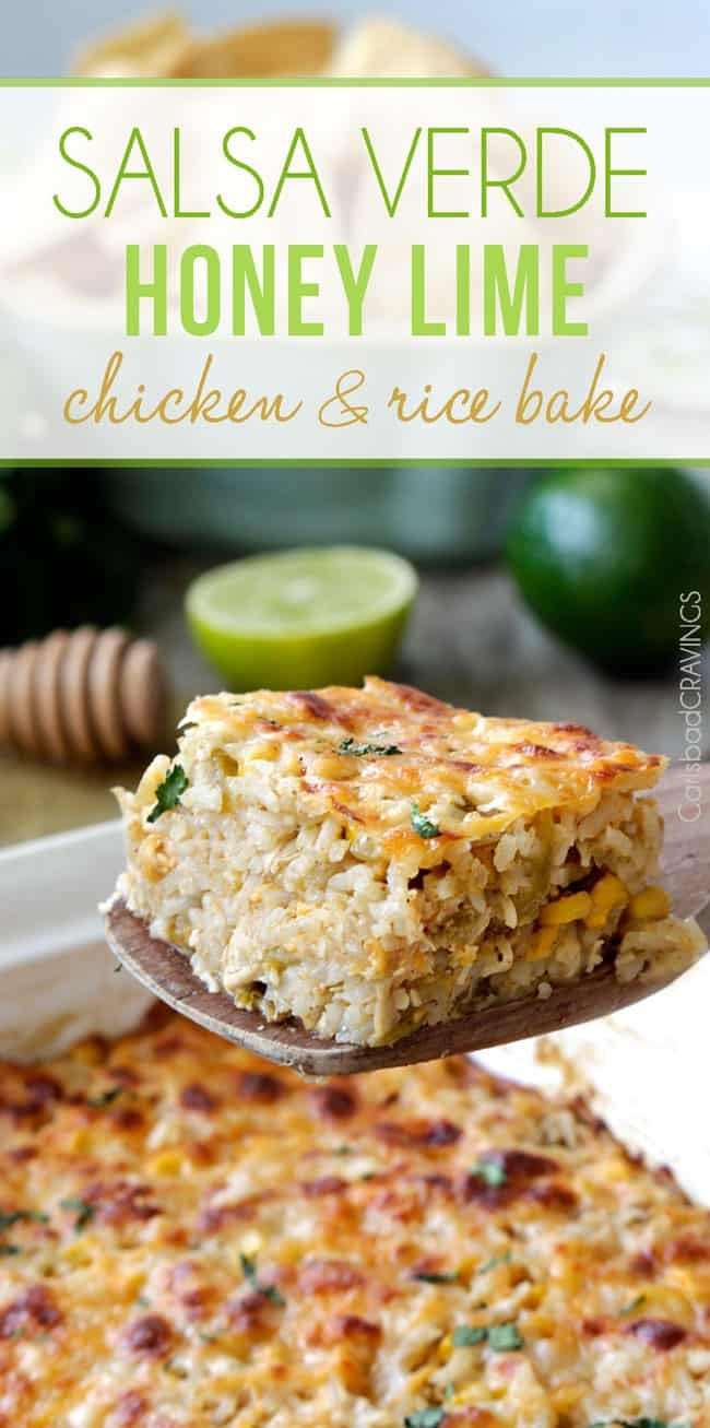 Salsa Verde Honey Lime Chicken and Rice Bake