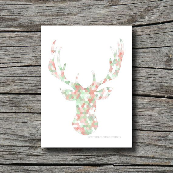 Deer Head Print Geometric Artwork Hexagon Print Mint Green