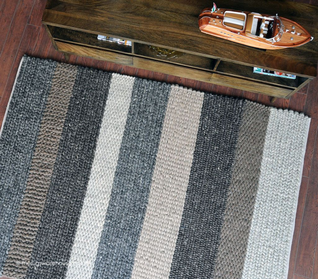 Designer Stripes Luxury Hand Woven Casco Rug Is Mixture Of Subtle Colours And Textures
