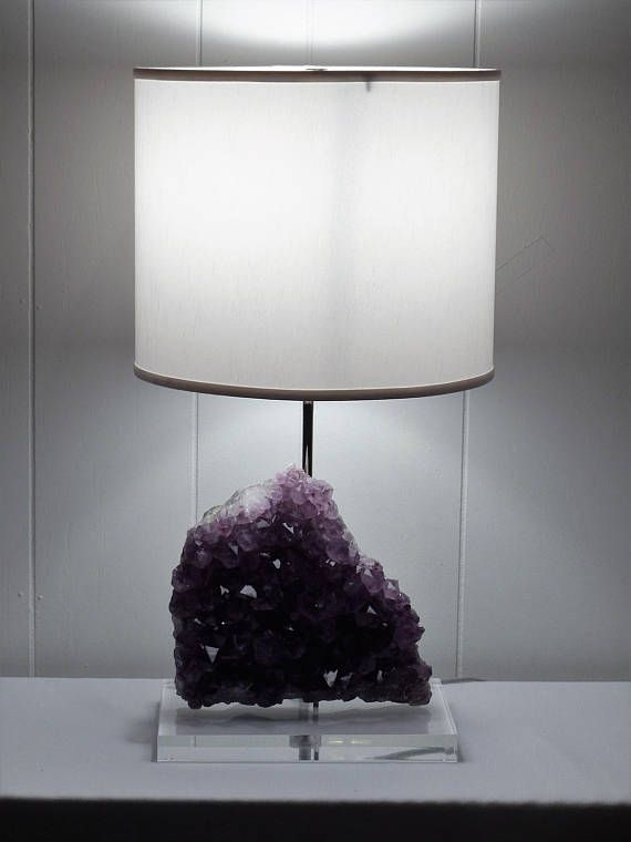 Amethyst Rock Crystal Table Lamp Jessica Etsy Crystal Table Lamps Crystal Lamp Amethyst Rock