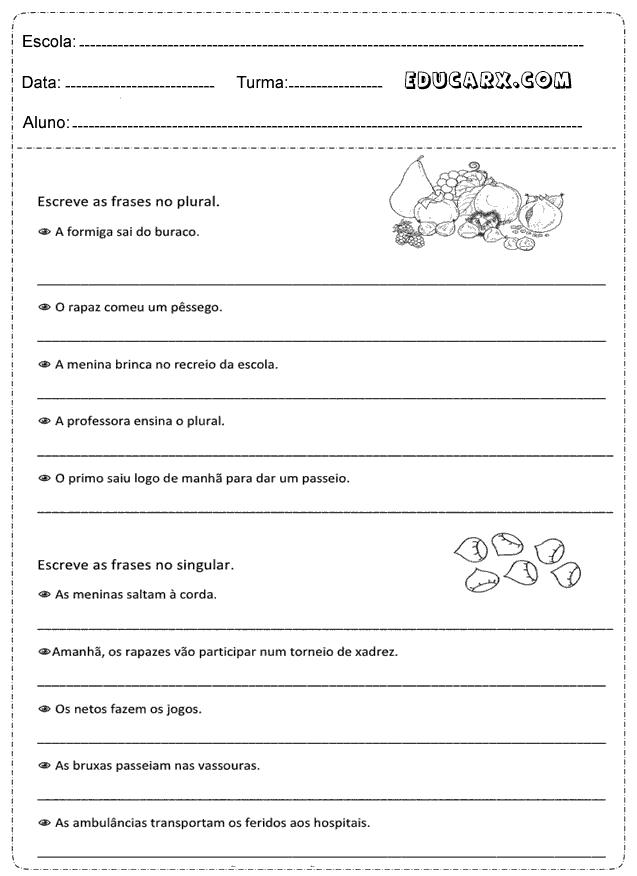 Educar X: Atividades singular e plural 3° ano
