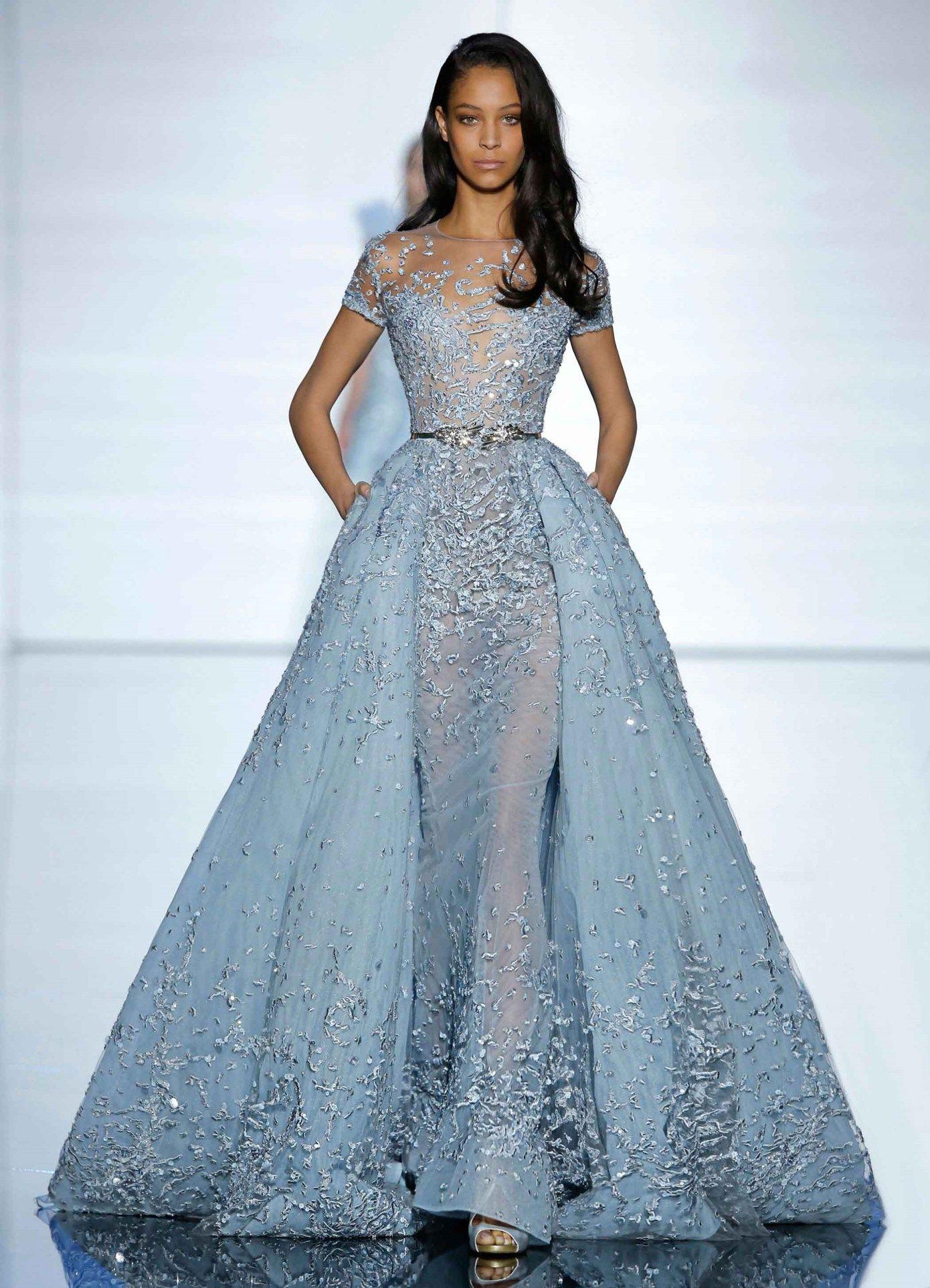 Zuhair Murad Couture Spring 2015- Long aquamarine sheath dress and ...