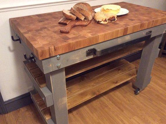 Exceptionnel Solid End Grain Oak Butchers Block Top 5cm Thick Bakers Table