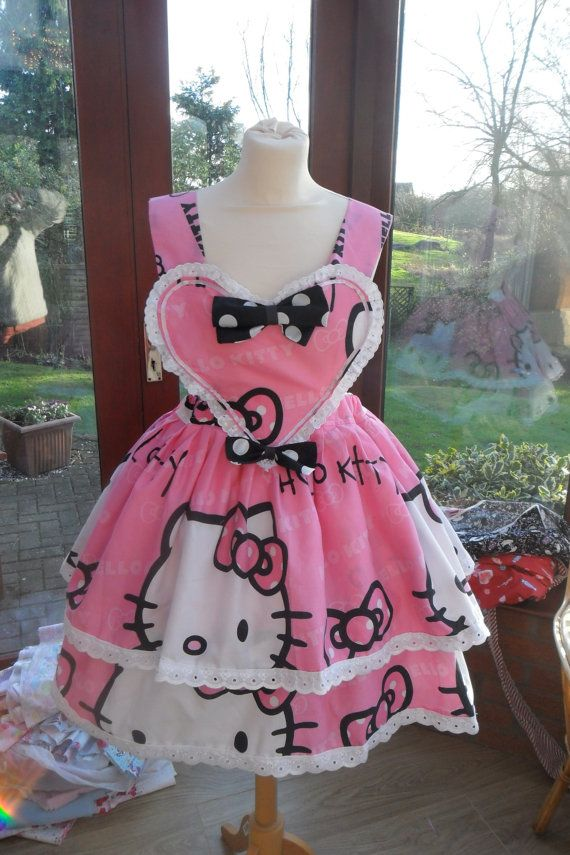 Made to order Hello Kitty Heart Pinafore Size UK 8-12 | Hello Kitty ...