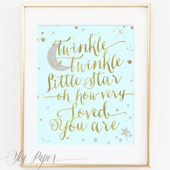 Twinkle Twinkle Little Star Printable Printable Nursery, Baby Shower or Birthday Sign Print: Blue, Gold & Silver Sparkle INSTANT DOWNLOAD