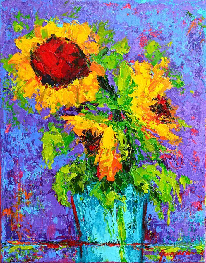 Joyful Trio Sunflowers Still Life Modern Impressionistic Art Palette Knife By Patricia Awapara Impressionist Art Abstract Painting Painting