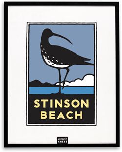 Poster/Print - Schwab Stinson Beach    The Parks Conservancy celebrates the coastal beauty of Stinson Beach with this handsome graphic available in an outstanding silk-screened edition on premium stark white paper or as an intimate matted print.The larger poster is available framed in classic black wood. Artist, Michael Schwab.
