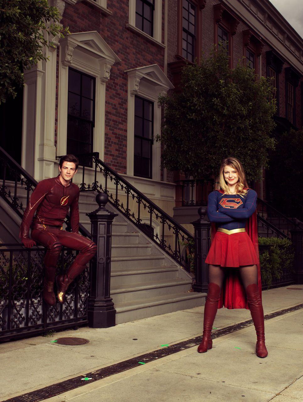 Grant Gustin and Melissa Benoist #theflash & #supergirl