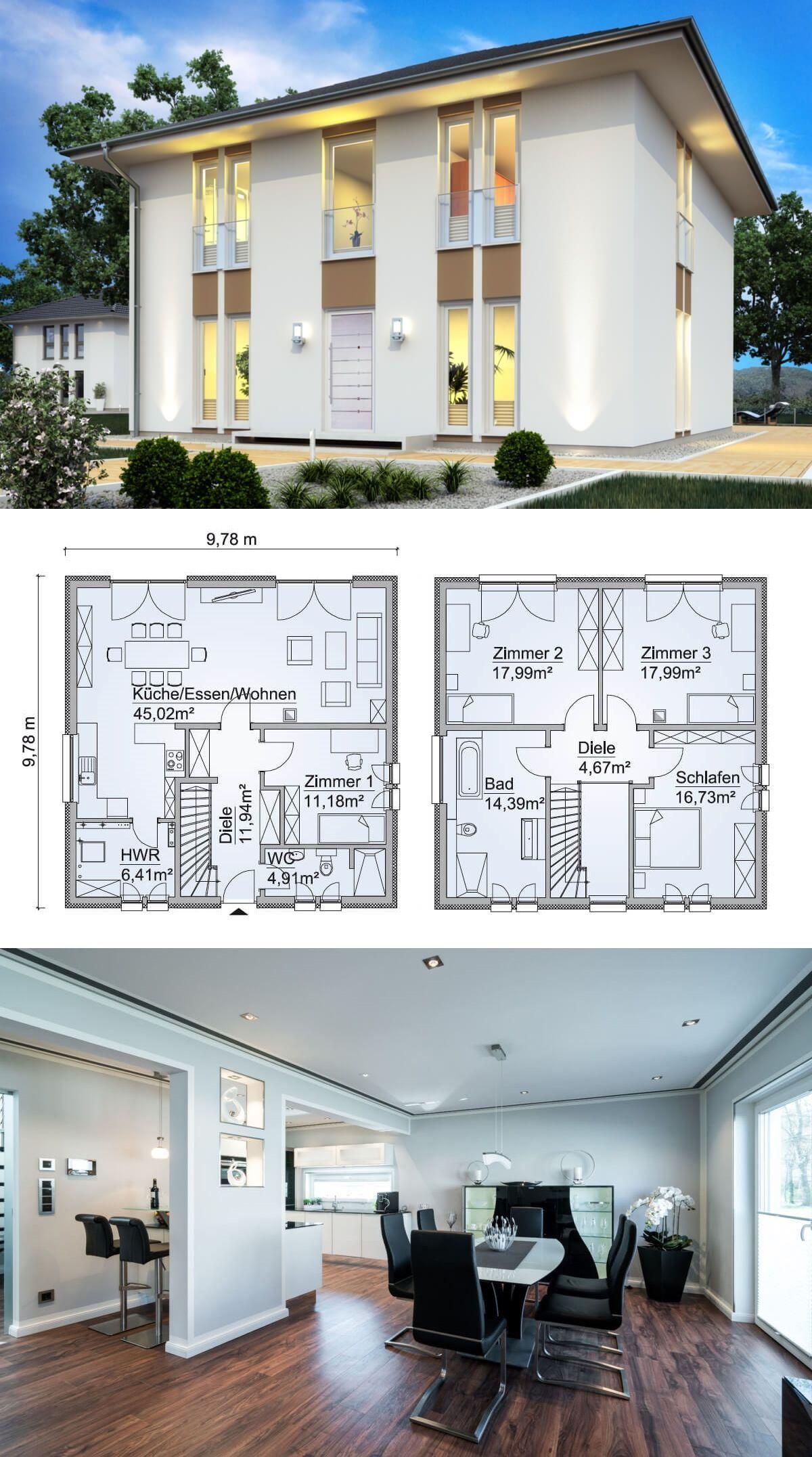 Stadtvilla Neubau modern mit Zeltdach Architektur