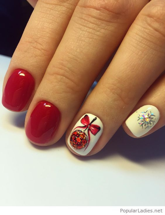 Sweet red and white holiday nail art | Pinterest | Holiday nail art ...