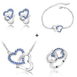 Groothandel Mode-sieraden Oostenrijk Kristal Dubbele Hart Hangers Ketting Armband Bangles Stud Oorbel Ring Sieraden Sets